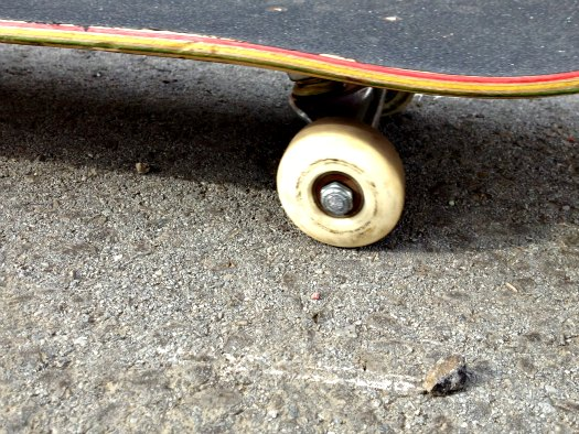 The Wedged Pebble Stops Rolling Wheel And Forward Motion Of Skateboard Causing It To Slide On Ground A Bit Usually Wearing Flat Area Into